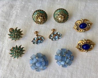 Vintage Earring lot Blue Green turquoise clip and screw backs Pretty!