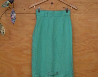 Vintage 80's Aqua Hourglass Linen Dress Boho Style With Unique Kick Pleat Detail At Back Hem Size S