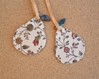 Pear ceramic hanging ornament - Pottery gift tag -  Pear with Tudor pattern decal (Listing for ONE only)