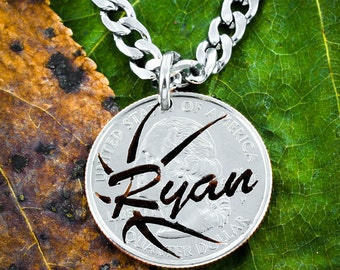 Basketball Necklace with Your Name, hand cut Coin