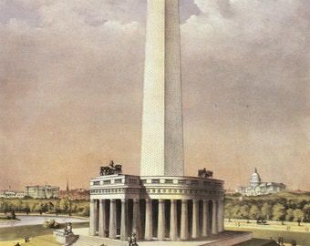 WASHINGTON MONUMENT 1880 - Vintage Photo Print, Ready to Frame!