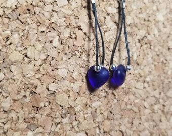 Handcrafted Blue Heart Earrings