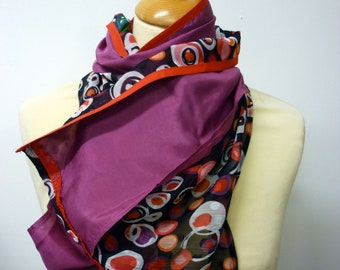 Pink, black and orange old patterned silk and viscose scarf