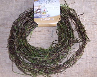 Mossy twig vine garland,natural grapevine garland with added artificial moss, 6 ft length, rustic crafts,wreaths,florals