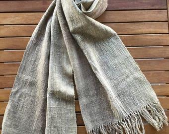 Madagascar two-tone brown handwoven raw silk scarf