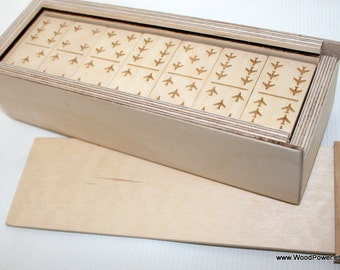 Personalized Wooden Domino Game with Aircraft Theme (custom themes available)