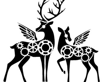 12/12 inches steampunk cogs deers stencil