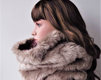 Faux Fur Cowl Scarf, Light Brown Fur, Poncho Lining, SPRING SALE 50% OFF