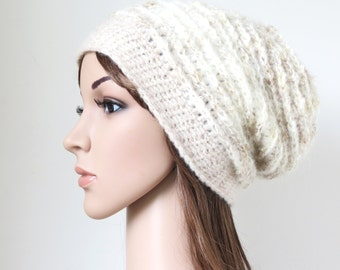 Soft Slouchy Hat in Alpaca and Merino Wool Mohair Blend, Off-White and Wheat, Neutral Colours