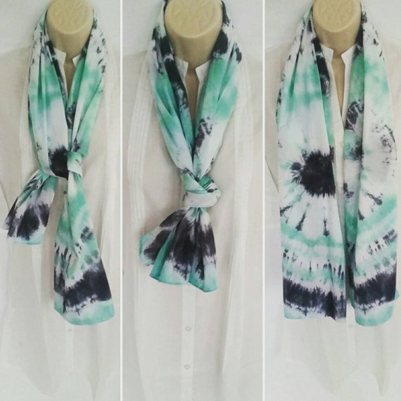 Hand Dyed Tie Dye Scarf in Seafoam Green & Ashes to Ashes/Womens Tie Dye/Eco-Friendly Dying