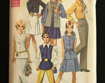Simplicity8045 - 1960s Separates with Pointed Collar Blouse, Sleeveless Jacket, and Pants - Size 10 Bust 32.5