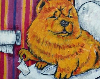 25% off chow chow  dog bathroom signed art print animals impressionism gift new modern abstract
