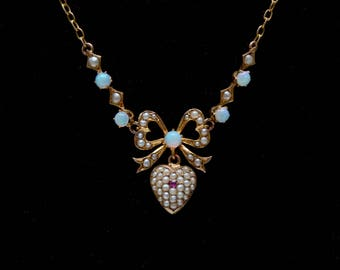 9k Opal and Pearl Victorian Necklace