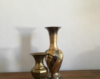 set of 2 vintage faceted brass vases. instant collection hollywood regency brass vases. boho modernist brass vase home decor bohemian decor