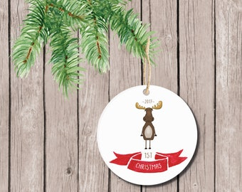 Baby's First Christmas Ornament, Christmas Ornament Baby's First, Ornament Baby's First, Baby's First Christmas Ornament, Moose, Boy