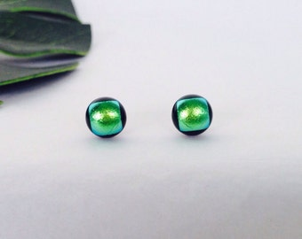 Light Green Dichroic glass stud earrings, on sterling silver - Fused dichroic glass