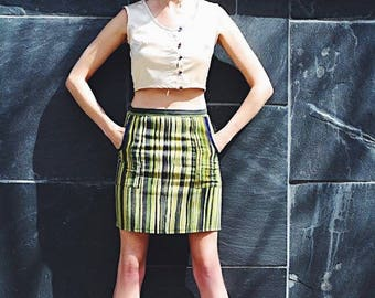 M. Green striped pencil skirt with pockets in vintage heavy cotton fabric. Size M women's.