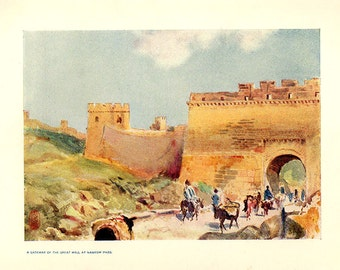 1911, Gateway to The Great Wall of China at Nankow Pass, Antique Art Print 105 years old China, Asia