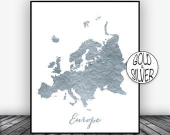 Europe Print, Europe Continent, Europe Map, Map of Europe, Map Wall Art Print, Office Prints, Housewarming Gift, Gold Decor, GoldArtPrint
