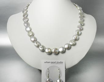 Silver Gray Coin Pearl Necklace Grey Mother of the Bride Jewelry Disc Flat Pearl Necklace Pearl Drop Earrings