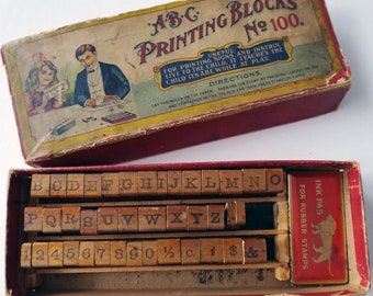 1960'2 ABC Printing Blocks, Set of Sign Printing Letters by Wm. Baumgarten & Co., Baltimore, Maryland, Set 100, Original Box, Letter Stamps