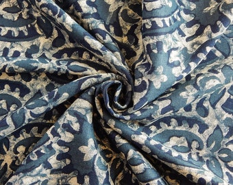 1 yard of Rayon Fabric, Indian Fabric, Floral Print Fabric, Blue and Beige Rayon Fabric, Mottled Fabric