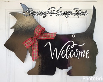 Scottie Dog Door Hanger, Scottie Dog, Scottish Terrier, Scottie Door Hanger, Scottie Dog Welcome Sign, Scottie Dog Decal, Mother's Day gift