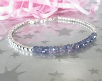 Blue Iolite Layering Bracelet. Hand Stamped Initial Charm. Sterling Silver Personalized Genuine Gemstone Jewelry. Gracie Jewellery