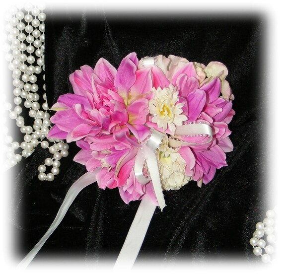 PINK & WHITE CORSAGE - Round Style . . Wrist, Upper Arm or Ankle Corsage