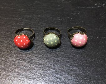 Polka dot fabric ring