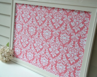 Large Magnet Board Framed Fabric Bulletin Board Girl's Pink Damask Magnetic Message Board 20.5 x 26.5 Handmade Wood Frame and Button Magnets