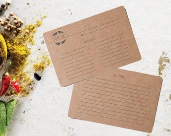 Craft Recipe Cards 4x6, Recipe Box Cards, Bridal Recipe Cards, Blank Recipe Cards, Rustic Recipe Card, Printed Recipe Cards 72CT