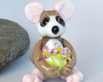 MOUSE bead with flowers,  lampwork glass bead, whimisical lampwork focal bead, Izzybeads SRA