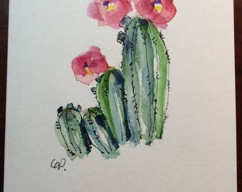 Cacti Watercolor Card / Hand Painted Watercolor Card
