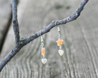 Stone Star and Heart Silver Earrings