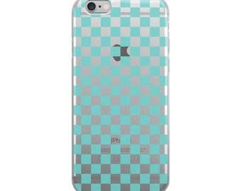 Aqua Checkerboard Pattern iPhone Case