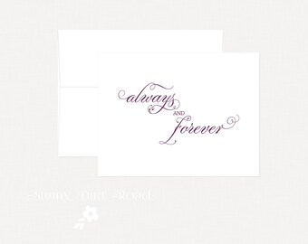 Wedding Card Congratulations, Engagement Card, Anniversary Card, Always and Forever