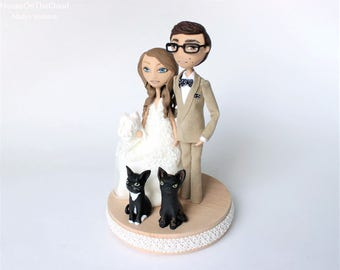 Rustic Wedding Cake Topper figurine, wedding decor, unique cat wedding cake custom bride and groom caketop figurine