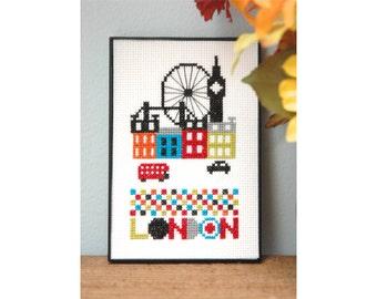 Modern Cross Stitch - Cute London Cross Stitch Pattern by Tiny Modernist