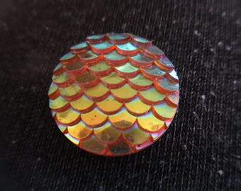 Large Yellow  Mermaid scale, dragon scale 20mm themed resin needleminder  magnet