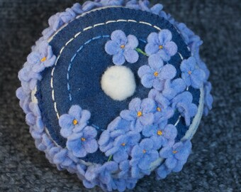 Made to order - Blue flowers Pincushion  free usa ship