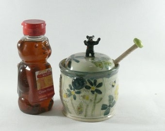 Ceramic Honey Pot with honey dipper and horse, honey jar and honey stick,  kitchen canister pony, lidded storage jar honey, jam, syrup