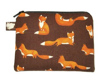 Friendly Orange Fox Coin Purse Brown - Small Zipper Pouch - Fox Change Purse - Fox Purse - Coin Pouch - Animal Purse - Fox Bag - Brown Purse