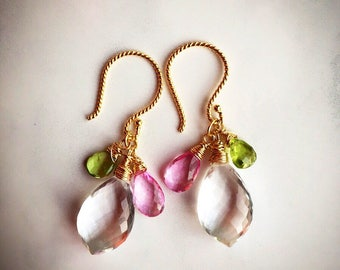 Rock crystal, pink topaz, peridot and gold vermeil dangle earrings