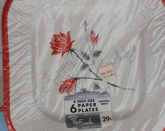 Vintage Paper Happy Birthday Plates, Roses, In Original Packaging, NOS, ONE PACKAGE of 6 plates