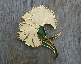 Large Enamel White Carnation Brooch Marked PL