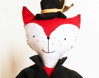 RUFUS the Red Fox. Doll Fox about 30 cm. France