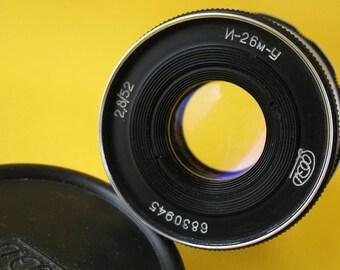 Lens INDUSTAR 26M-U 2.8/52mm # 6830945 Made in USSR 1968 M39 Russian Soviet
