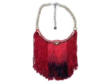 Long Fringe Necklace Dark Red Burgundy Necklace Big Fringe Necklace Vintage Rhinestone Jewelry Ombre Fringe Upcycled Jewelry Necklace Unique