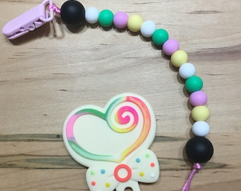Heart Lollipop Silicone Bead Baby Teether /  Teething Toy / Baby Toy / Silicone Bead Teether